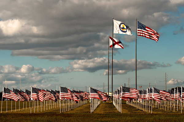 Battleship Park on the Mobile Bay.  I love the precision of the flagpoles in contrast with the softness of the clouds and fluttering flags.